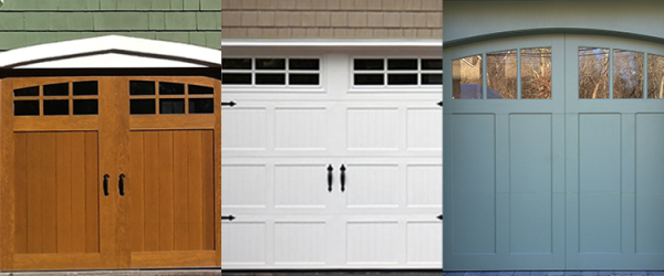 Three garage door options